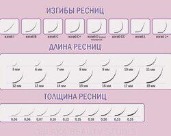 кривые и размеры ресниц для наращивания ресниц