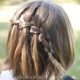 Коса водопад на короткие волосы фото. Плетение кос Петербург.